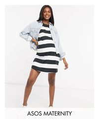 Платье-футболка В Стиле Oversized С Полосками ASOS, цвет: Black