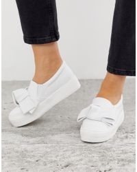 Lost Ink White Sofia Bow Slip On Trainer