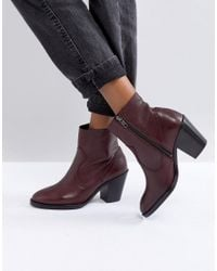 Office Red Angie Burgundy Heeled Ankle Boots