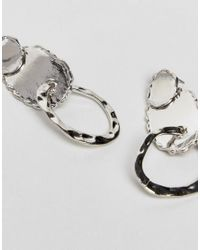 ASOS - Metallic Rough Edge And Hammered Shape Earrings - Lyst