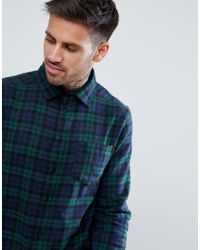 Boohoo Blue Regular Fit Shirt In Navy Check for men