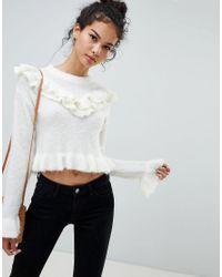 Glamorous White Frill Detail Sweater