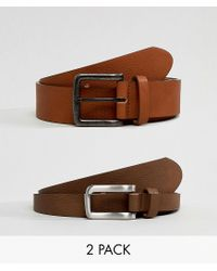 ASOS DESIGN 2 Pack Faux Leather Wide Belt In Tan And Brown Save for men