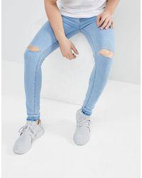 Jeans skinny lavaggio ghiaccio di Criminal Damage in Blue da Uomo