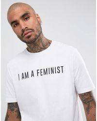 ASOS White Longline T-shirt With I Am A Feminist Print for men