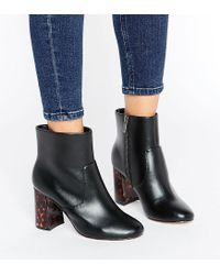 ASOS Black Erin Wide Fit Heel Detail Ankle Boots