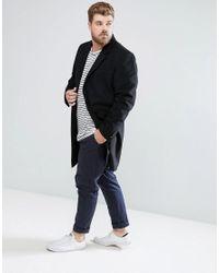 ASOS - Plus Wool Mix Overcoat In Black for Men - Lyst