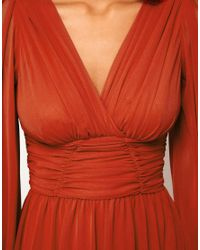 ASOS Red Skater Dress with Blouson Sleeves
