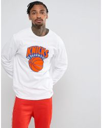 Mitchell & Ness White Nba New York Knicks Long Sleeve Top for men
