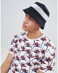Cappello da pescatore nero con pannello a rete bianco di ASOS in Black da Uomo