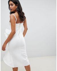 Vestido midi con aros y barra en U y detalle ASOS de color White