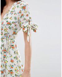 Fashion Union - White Curve Floral Print Wrap Skater Dress - Lyst