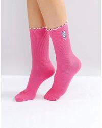 Lazy Oaf Blue Fluffy Bunny Socks