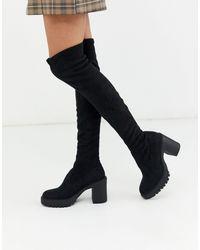 Pull&Bear Black Chunky Sole High Leg Boots