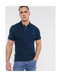 Polo Ralph Lauren – Schmal geschnittenes Polohemd mit Logo in Blue für Herren