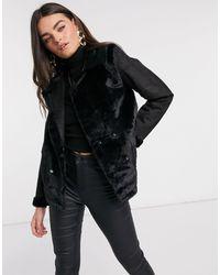 Черная Байкерская Куртка С Вставками Из Искусственного Меха -черный AX Paris, цвет: Black