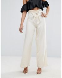 Missguided - Natural High Waisted Corset Lace Up Trousers - Lyst