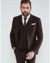 Giacca da abito slim in 100% lana Harris Tweed marrone di ASOS in Brown da Uomo