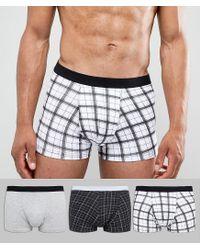 New Look Trunks In Black Check 3 Pack for men