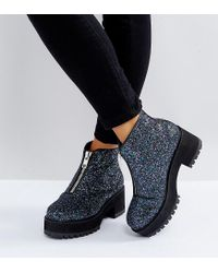 ASOS Blue Rankin Wide Fit Zip Front Ankle Boots
