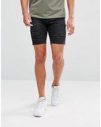 11 Degrees - Super Skinny Denim Shorts In Black for Men - Lyst