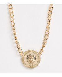 Collier tendance style vintage avec médaillon motif lion Pieces en coloris Metallic