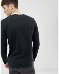T-shirt à manches longues et bordures contrastantes Lyle & Scott pour homme en coloris Black
