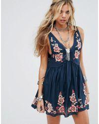 Free People | Blue Embroidered Aida Slip Dress | Lyst