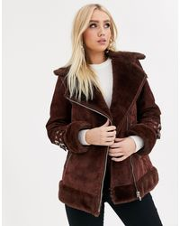 ASOS Brown Suede Aviator Coat With Faux Fur Lining