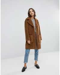 Warehouse Brown Teddy Faux Fur Coat