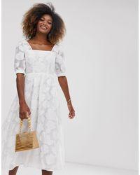 Premium - Vestito grembiule midi di ASOS in White