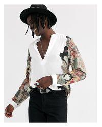 Heart & Dagger White V Neck Shirt With Side Print for men