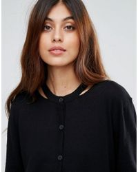 Warehouse Black Cardigan With Contrast Trim