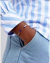ASOS   Metallic Gold Plated Sterling Silver Arrow End Open Cuff Bracelet   Lyst