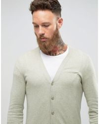 ASOS Muscle Fit Cardigan In Light Green for men