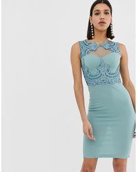 Кружевное Облегающее Платье -синий AX Paris, цвет: Blue