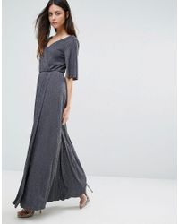 Warehouse Gray Split Sleeve Wrap Maxi Dress