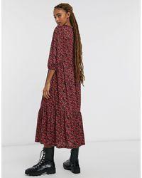 Stradivarius Red Midi Smock Dress