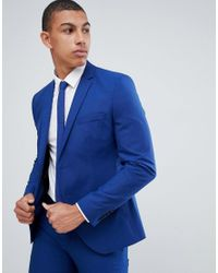 Giacca da abito skinny elasticizzata blu di SELECTED in Blue da Uomo