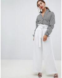 ac33a84079bb7 River Island Pantalon coupe large taille haute fronce femme de coloris blanc