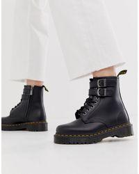 Черные Кожаные Ботинки На Массивной Подошве С Пряжками -черный Dr. Martens, цвет: Black