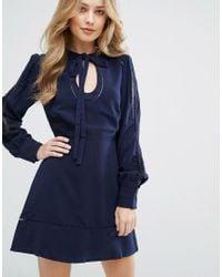Adelyn Rae Blue Keyhole Neck Dress
