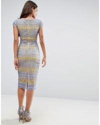 ASOS - Yellow Lace Wiggle Dress With Contrast Lining - Lyst