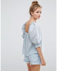 ASOS Blue Square Neck Top With Puff Sleeve In Dobby