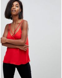 ASOS - Red Design Plunge Cami With Strap Detail - Lyst