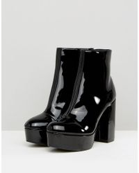 Monki Black Patent Heeled Ankle Boot