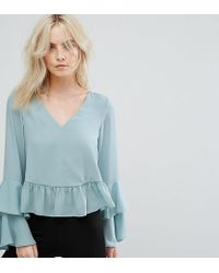 ASOS Green Blouse With Ruffle Sleeve