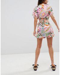 ASOS - Multicolor New Retro Print Pom Pom Wrap Mini Co-ord Skirt - Lyst