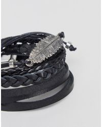 ASOS DESIGN - Black Leather And Plaited Bracelet Pack With Feather for Men - Lyst