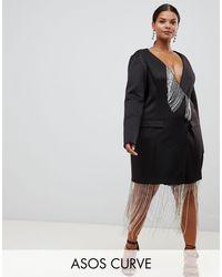 ASOS DESIGN Curve - Vestitino a trapezio stile smoking con frange di strass di ASOS in Black